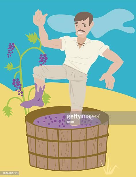 illustrazioni stock, clip art, cartoni animati e icone di tendenza di saltare uva - schiacciato