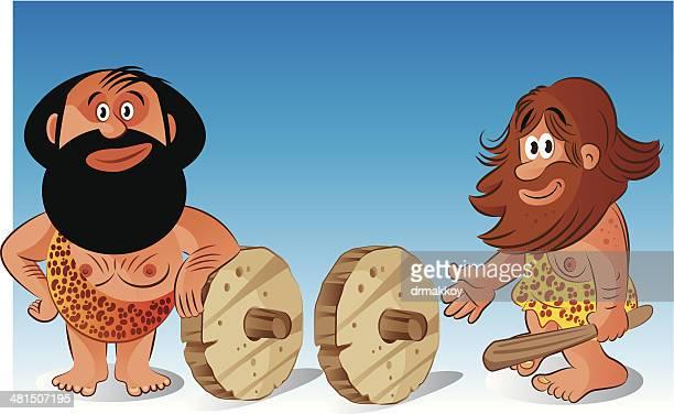 ilustraciones, imágenes clip art, dibujos animados e iconos de stock de edad de piedra y la rueda - animal extinto