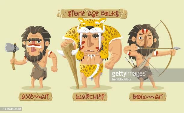 Charaktere der Steinzeit gesetzt