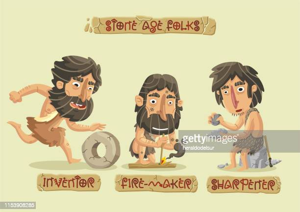 stone age characters set - ancient stock illustrations