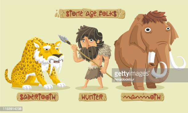 stone age characters set - head above water stock illustrations