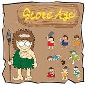 Stone age people cartoon vector