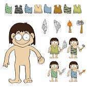 Stone age people cartoon vector,