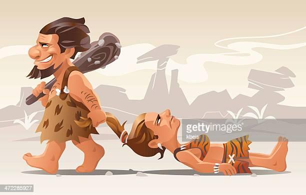 stone age romance - prejudice stock illustrations, clip art, cartoons, & icons