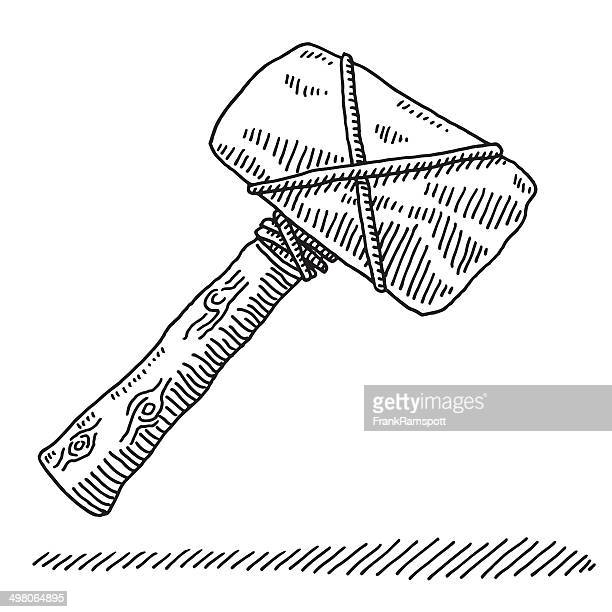 stone age tool hammer drawing - ancient stock illustrations, clip art, cartoons, & icons