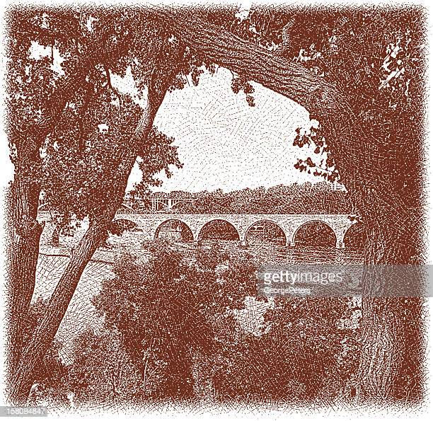 stone arch bridge - architectural feature stock illustrations, clip art, cartoons, & icons