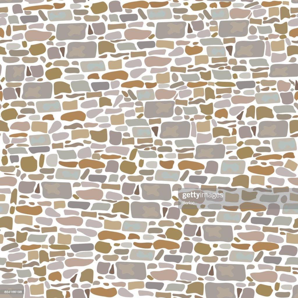 Stone Block Wall, Seamless pattern. Background made of wild bricks. grey, red, sand, yellow, brown,