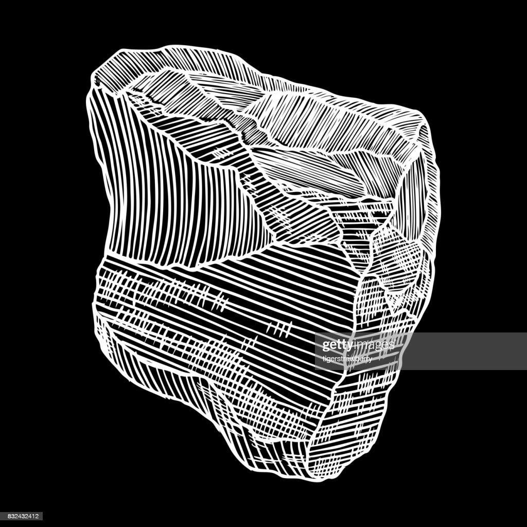 Stone hand drawn sketch.  Stone and rock in drawing hatching stipple style.   Boulder. Vector.