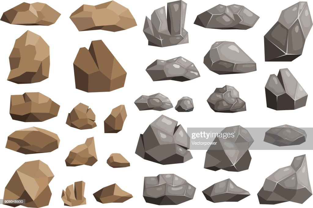 Stone rock vector rockstone mountain or rocky cliff with stony materials of geology in Rockies mountainous stoniness illustration set isolated on white background
