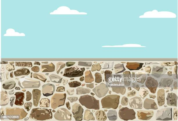 stone wall rough - stone wall stock illustrations