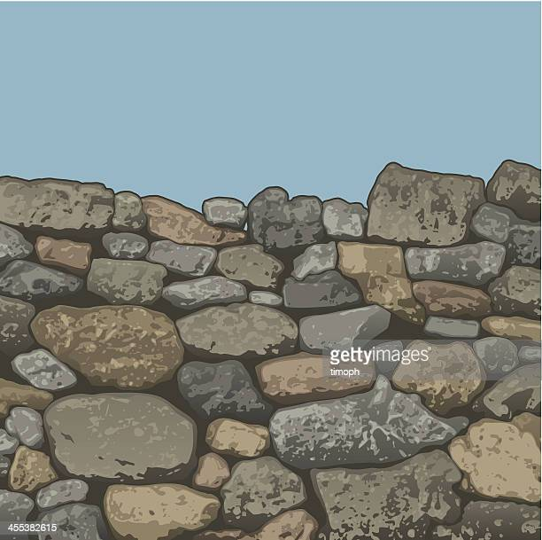 stone wall top - stone wall stock illustrations