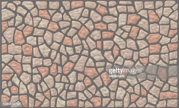 stone wall vector backgrounds - fortified wall stock illustrations