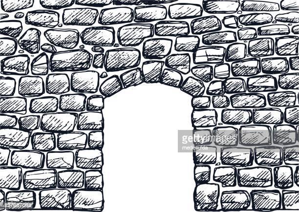 stone wall - stone wall stock illustrations
