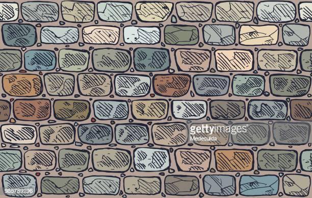 stone wall vector - defensive wall stock illustrations