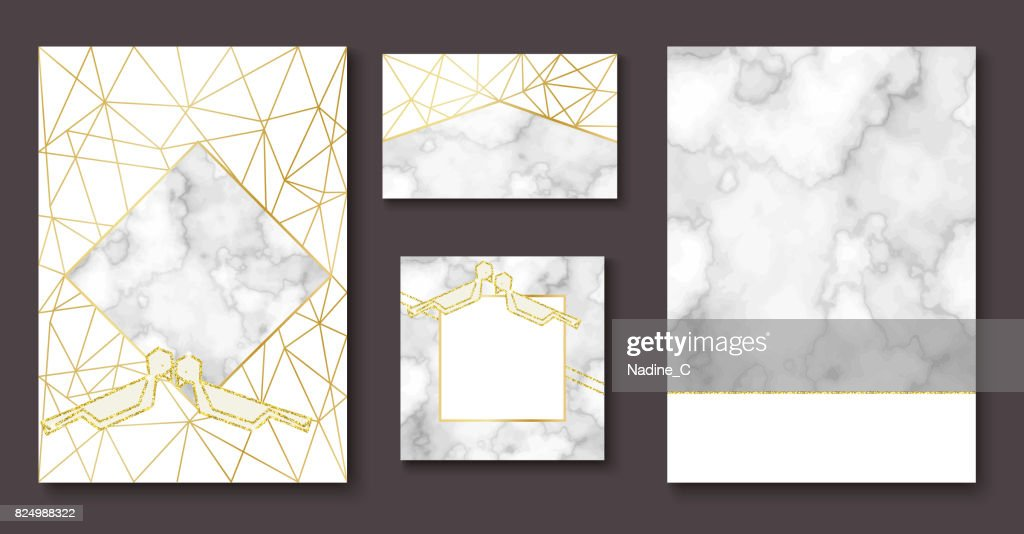 Stone wedding invitation, marble brochure, banner layout set, background in trendy minimalistic geometric style, dove silhouette, granite, glitter, frame, vector fashion wallpaper, poster, cover