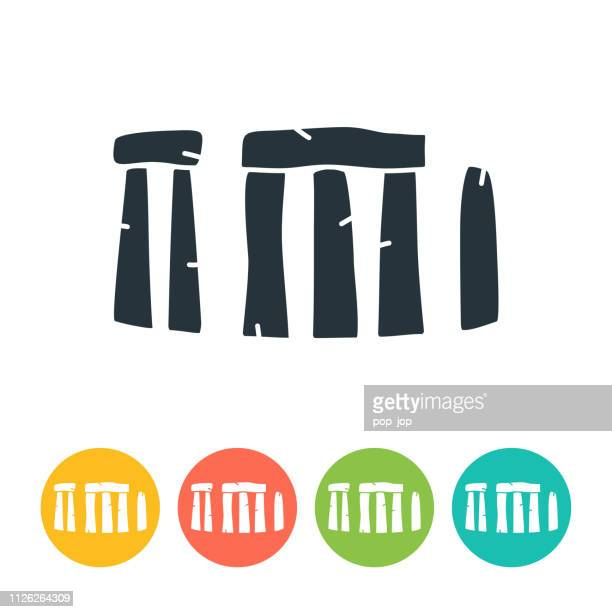 stonehenge flat icon - color illustration - megalith stock illustrations, clip art, cartoons, & icons