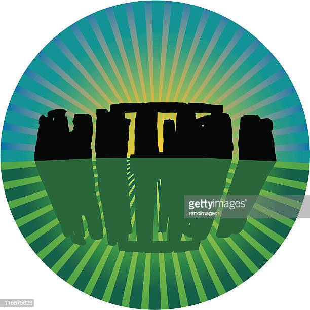 Stonehenge prehistoric stone circle sunrise - Vector illustration