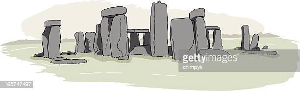 ilustrações de stock, clip art, desenhos animados e ícones de stonehenge esboço - megalith