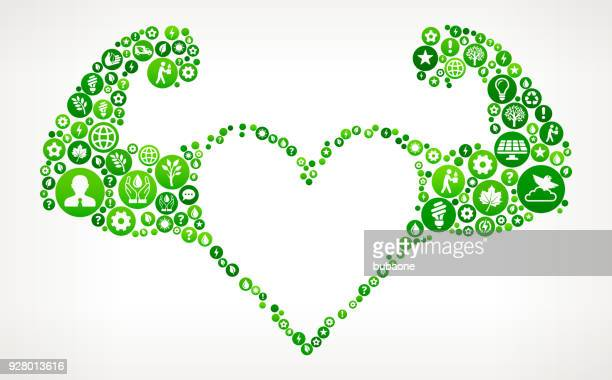 stong heart nature and environmental conservation icon pattern - burning stock illustrations, clip art, cartoons, & icons