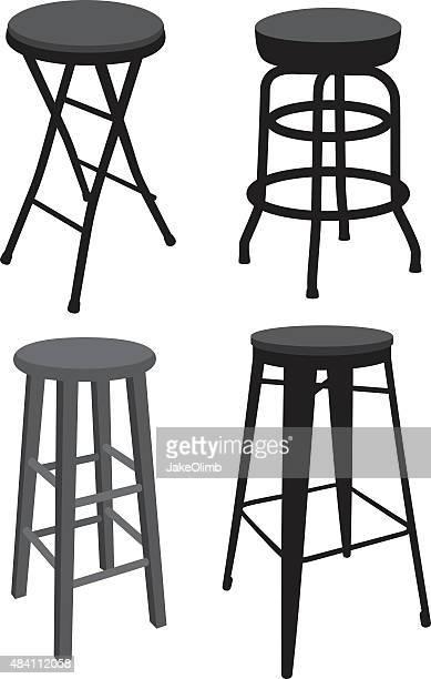 stool silhouettes - stool stock illustrations, clip art, cartoons, & icons