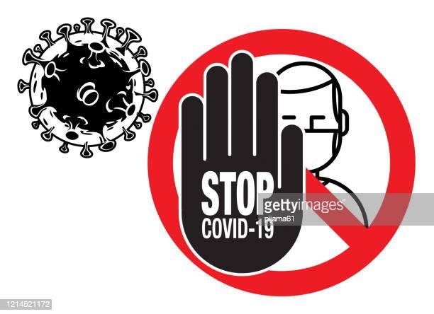 stop 2019-ncov coronavirus sign - stop sign stock illustrations