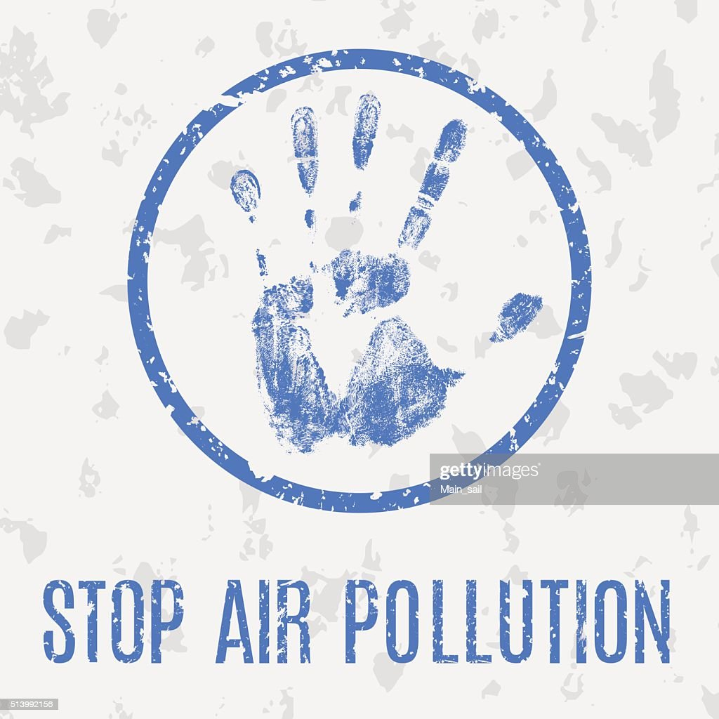 Stop air pollution vector sign