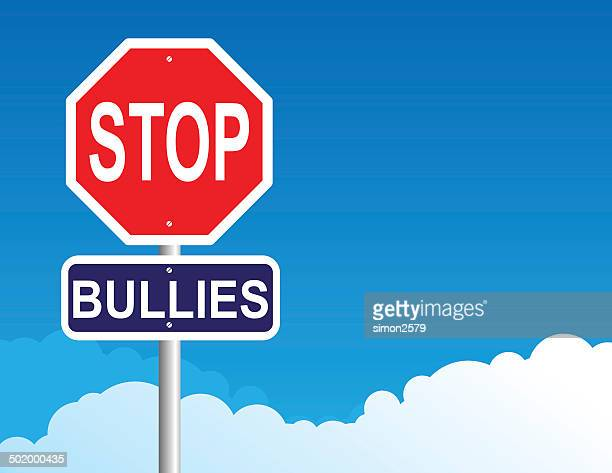 stop bullies sign - anti bullying symbols stock illustrations