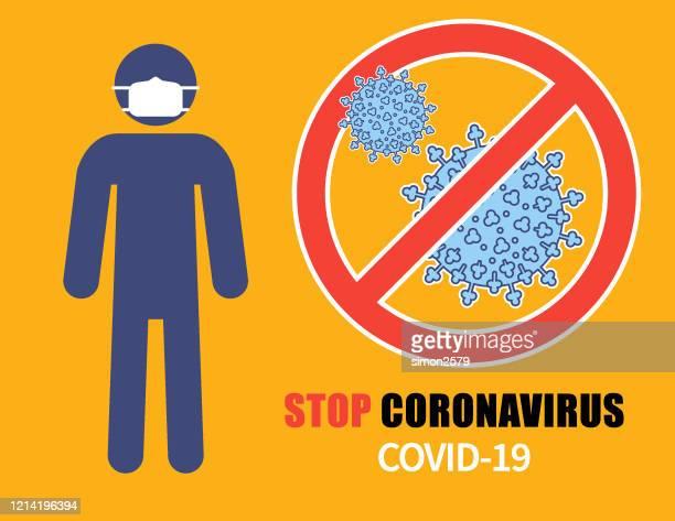 stoppen coronavirus covid-19 zeichen - mundschutz stock-grafiken, -clipart, -cartoons und -symbole
