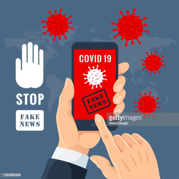 stop coronavirus fake news. - pathogen transmission stock illustrations