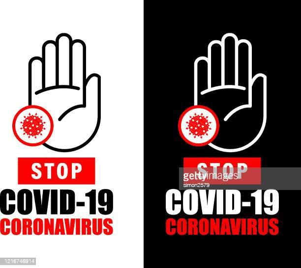 ilustraciones, imágenes clip art, dibujos animados e iconos de stock de señal de advertencia contra brotes de coronavirus - untar