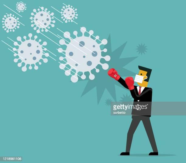 stop coronavirus - defeat stock illustrations