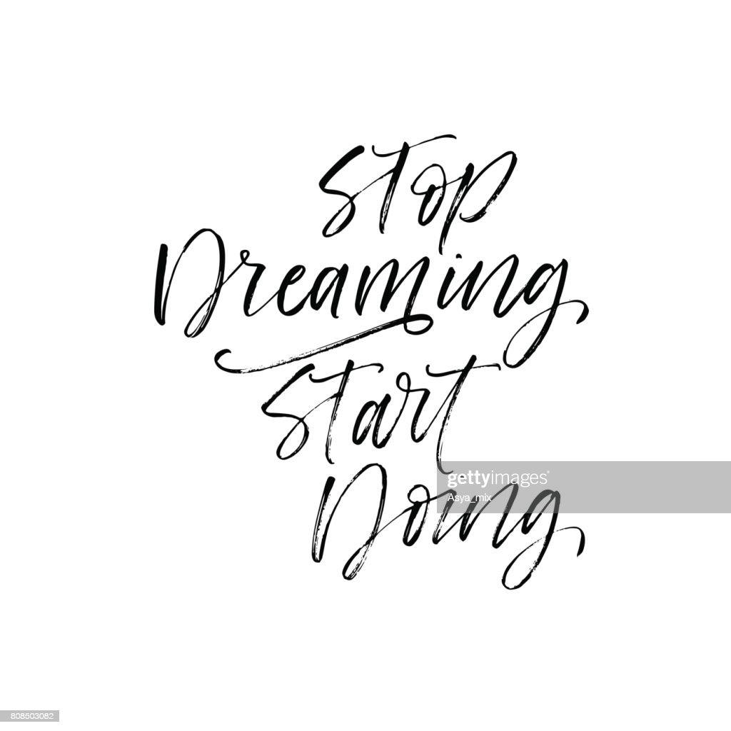 Stop dreaming start doing card.