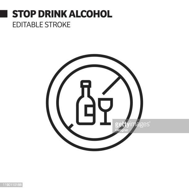 ilustrações, clipart, desenhos animados e ícones de pare de beber ícone da linha de álcool, esboço vector símbolo ilustração. pixel perfeito, curso editável. - proibido