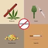 Stop drugs design concept set with marijuana heroin amphetamine and amphetamine flat icons isolated vector illustration