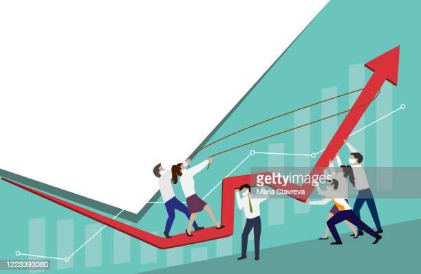 illustrazioni stock, clip art, cartoni animati e icone di tendenza di stop financial crisis.teamwork concept. - economia