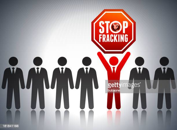 Stop Fracking Business Communication Concept Background with Stick Figures