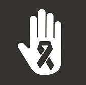 Stop hand cancer medical icon concept