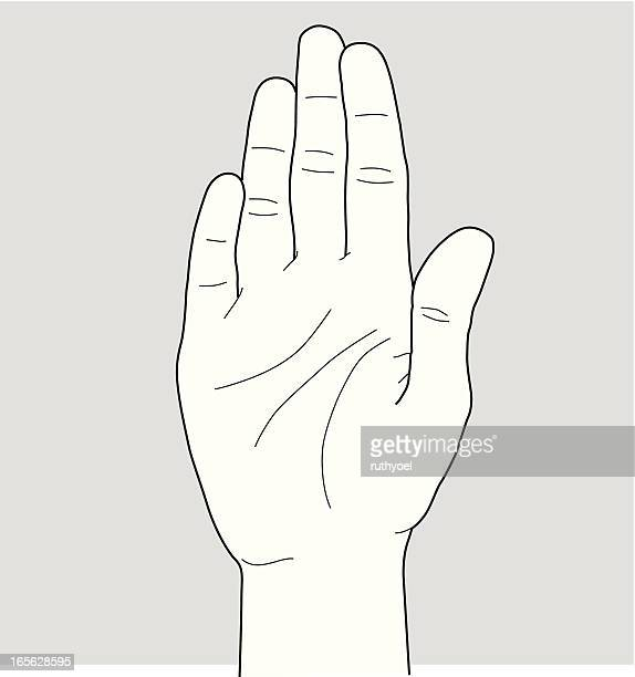 stop hand sign - wrist stock illustrations, clip art, cartoons, & icons