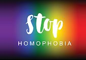 Stop homophobia slogan lettering