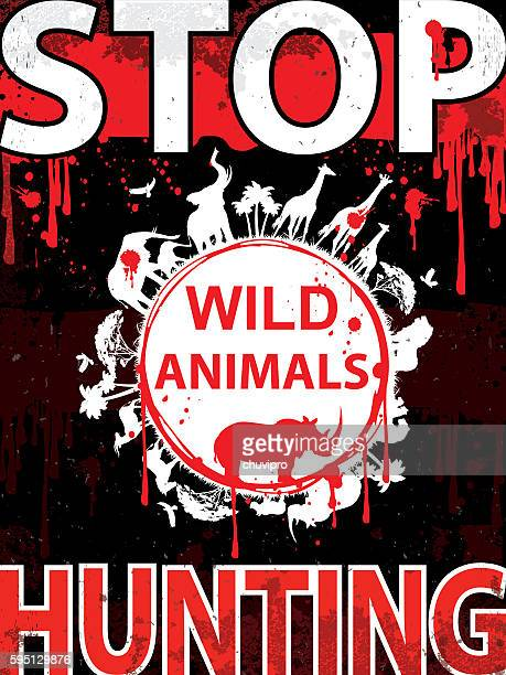 Stop hunting wild animals Vertical placard
