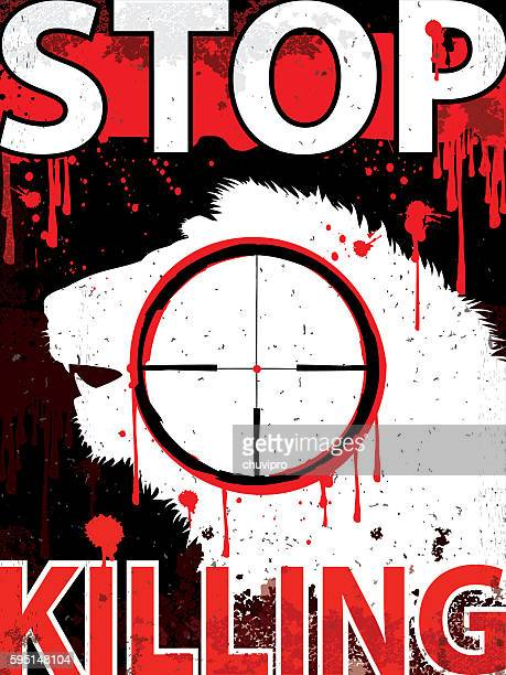 ライオンの垂直プラカードを殺すのをやめる - 血しぶき点のイラスト素材/クリップアート素材/マンガ素材/アイコン素材