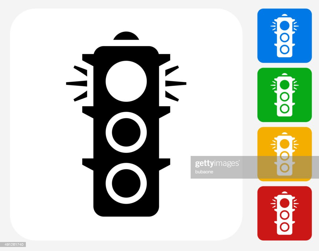 Stop Light Icon Flat Graphic Design