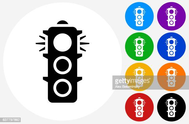 stop light icon on flat color circle buttons - stoplight stock illustrations