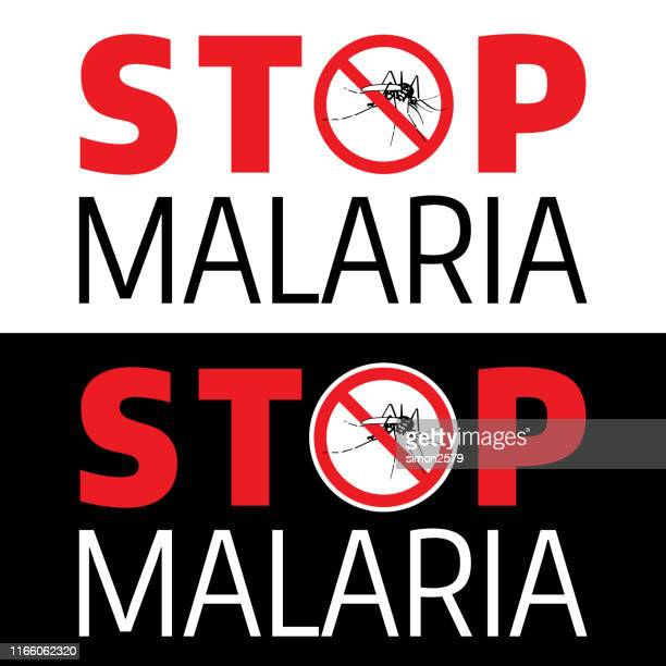 stop mosquito and malaria danger warning signal - malaria parasite stock illustrations