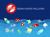 Stop ocean plastic pollution concept. vector illustration.