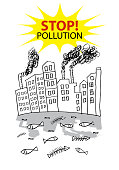 Stop! Pollution. Water pollution from factory.