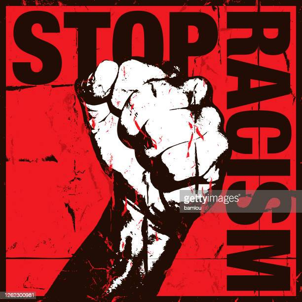 stop racism concept with grunge fist on red background - slogan stock illustrations
