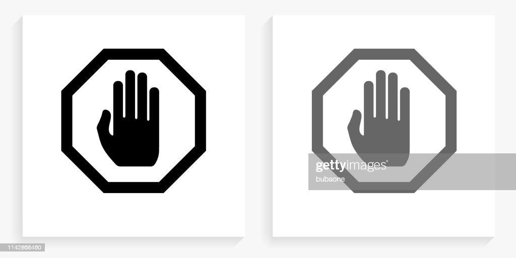Stop Sign Icono Cuadrado Blanco Y Negro Ilustracion De Stock Getty Images