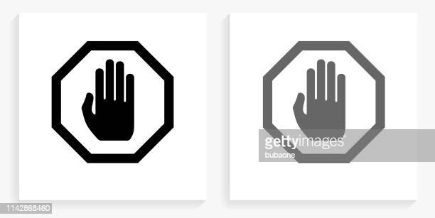 stop sign black and white square icon - stop sign stock illustrations