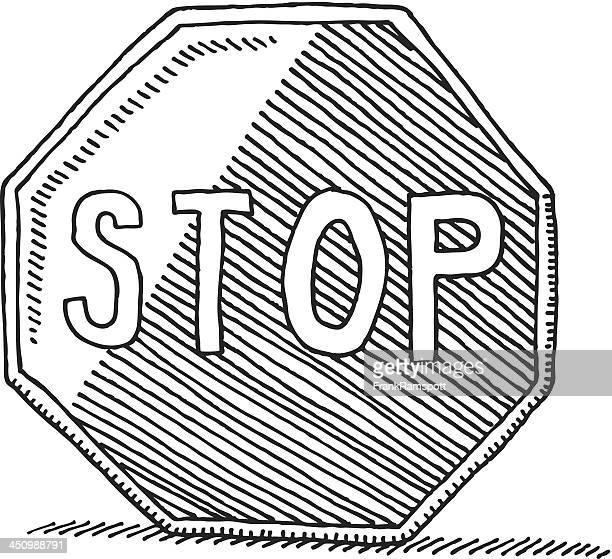 illustrations, cliparts, dessins animés et icônes de panneau stop dessin - panneau stop
